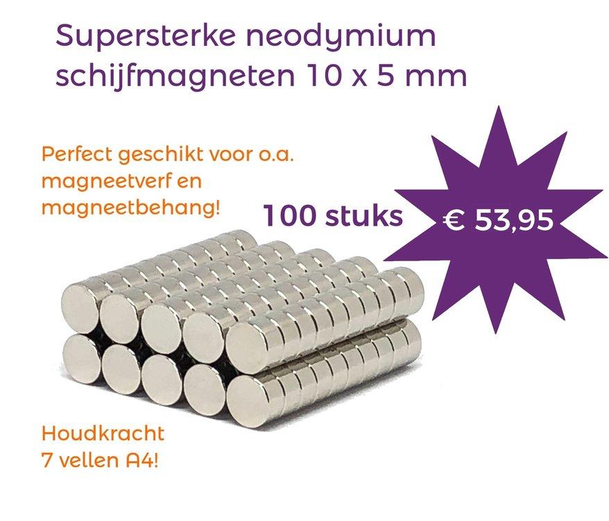Voordeelset 100 stuks neodymium schijfmagneten 10 x 5 mm