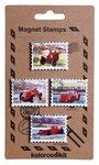Metalen postzegel magneten met Italiaanse race auto's