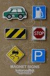 Metalen magneten met auto mini cooper en verkeersborden