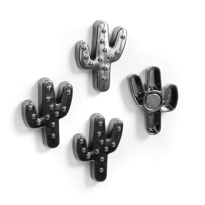 Superleuke cactus magneten van metaal - set 4 stuks