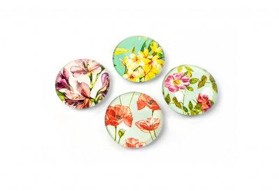 Mooie glazen bloem magneten 'Flower' - set van 4 stuks