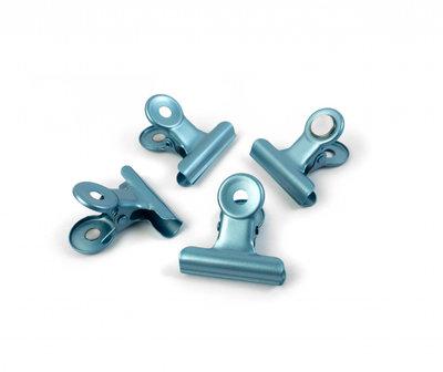 Clip magneten Graffa Blue - set van 4 blauwe metalen magneten