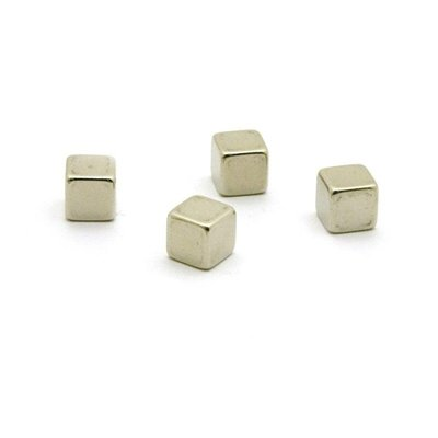 Kubus magneten Magic Cube - set van 4 supersterke RVS magneten