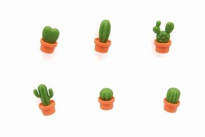 Cactus magneten van Qualy oranje pot - set van 6 stuks