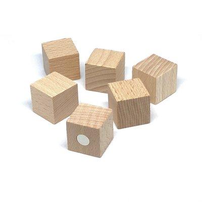 Sterke houten magneetblokjes 25 x 25 mm - set van 6 stuks