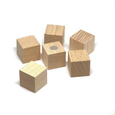 Extra sterke houten magneetblokjes 25 x 25 mm - set van 6 stuks