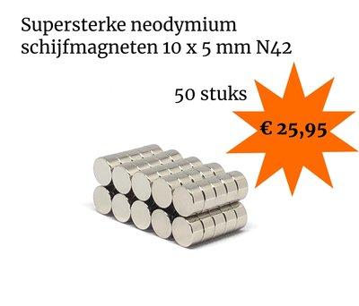 Voordeelset 50 stuks neodymium schijfmagneten 10 x 5 mm N42