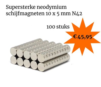 Voordeelset 100 stuks neodymium schijfmagneten 10 x 5 mm N42