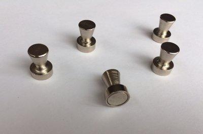 Zeer sterke RVS kegel magneten - per 5 stuks in een set