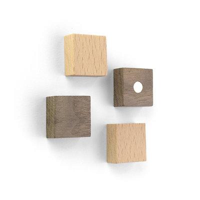 Wood Square magneten - set van 4 stuks