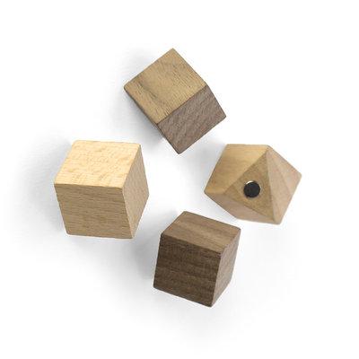 Wood Cube magneten - set van 4 stuks