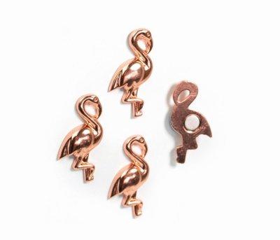 Rose gold flamingo magneten van metaal - 4 stuks per set