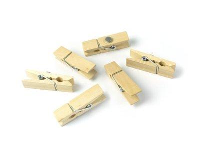 Houten wasknijper magneten naturel kleur - set van 6 stuks