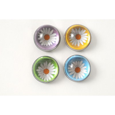 Bloemen magneten van glas - set van 4 stuks
