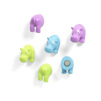 Nijlpaard magneten Hippo - 6 stuks neodymium magneten