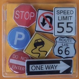 Verkeersborden magneten - set van 8 stuks