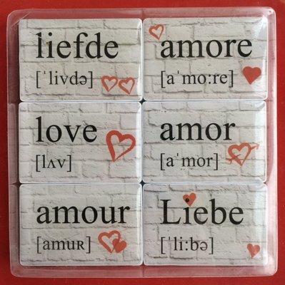 Magneet 'liefde' - set van 6 sterke magneten