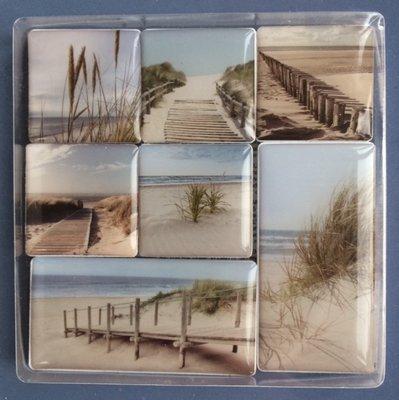 Erg mooie 'Day at the beach' magneten - 7 stuks