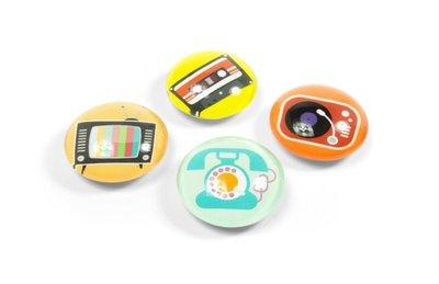 Glazen Trendform magneten Nostalgia - set van 4 sterke magneten