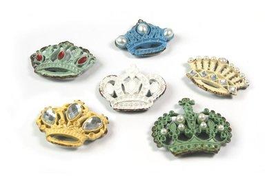 Metalen kroon magneten Glitzy Crowns - set van 6 stuks