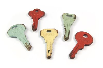 Magneet Colour Keys - set van 5 metalen sleutel magneten