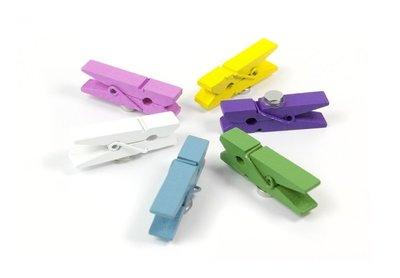 Wasknijper magneten - set van 6 houten vrolijke gekleurde knijper magneten