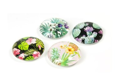 Oerwoud magneten - Jungle Flower - set van 4 glazen magneten
