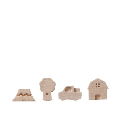 Small Ville Magneten Country - set van 4 houten magneten