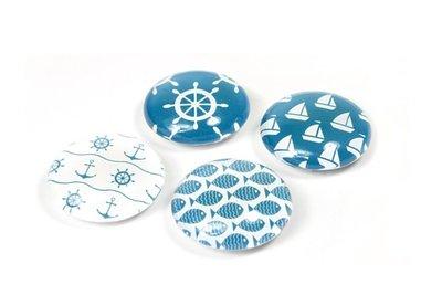 Magneet Eye - Maritime - set van 4 glazen magneten