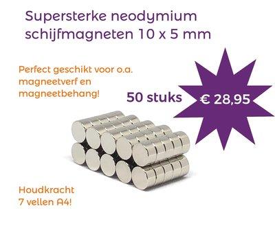 Voordeelset 50 stuks neodymium schijfmagneten 10 x 5 mm