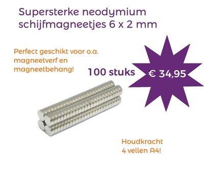 Voordeelset 100 stuks neodymium schijfmagneetjes 6 x 2 mm
