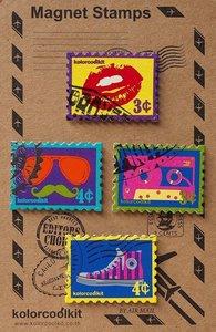 Metalen Pop Art magneten in de vorm van een postzegel